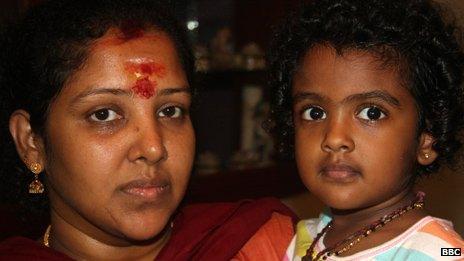 Ramasamy Prabagaran's wife, Shiromani, and daughter