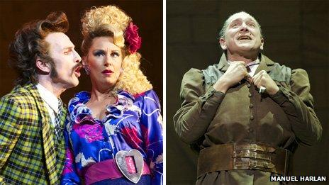 Paul Kaye as Mr Wormwood and Josie Walker as Mrs Wormwood (left) and Bertie Carvel as Miss Trunchbull in Matilda The Musical. (Photo by Manuel Harlan)