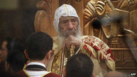 Pope of the Coptic Orthodox Church of Alexandria Shenouda III in Cairo on April 7, 2011