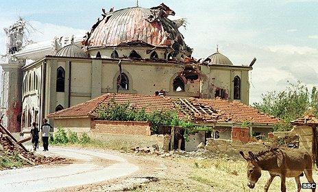 Mosque which was damaged in fighting sparked by an uprising by ethnic Albanians