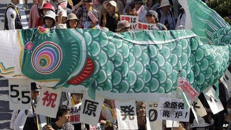 Anti-nuclear doemonstrators in Tokyo carrying carp-shaped banner (5 May)