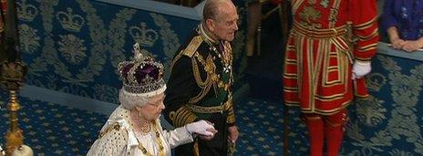 The Queen and Duke of Edinburgh arrive for the Queen's Speech