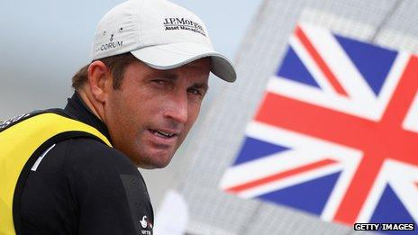 Ben Ainslie sailing in Weymouth during the London 2012 test event