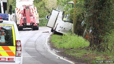 Coach in ditch at crash scene