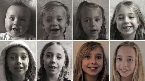 Eight image of Lotte Hofmeester aged (top row: aged 4 months, one year old, three years old, five years old; top row: seven years old, eleven years old, twelve years old) (photos: Frans Hofmeester)
