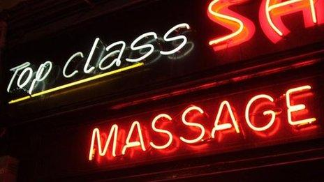 Neon signs for a massage parlour