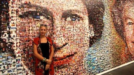 Artist Helen Marshall with the finished Jubilee photo mosaic