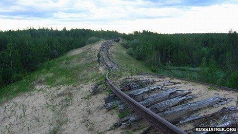 Exposed track of Salekhard-Igarka railway