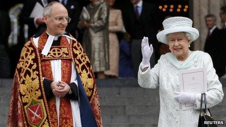 The Queen outside St Paul's Cathedral with the Dean of St Paul's, David Ison