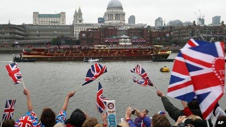 The royal barge on the Thames during the Diamond Jubilee River Pageant
