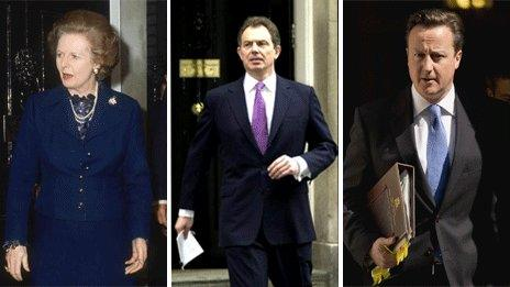 Margaret Thatcher, Tony Blair, David Cameron