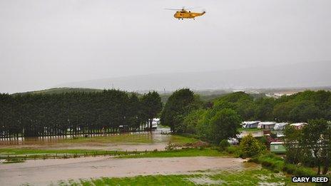 Helicopter above Glanlerry Caravan Park
