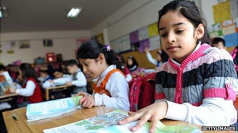Turkish students attend a lesson at their school in Istanbul