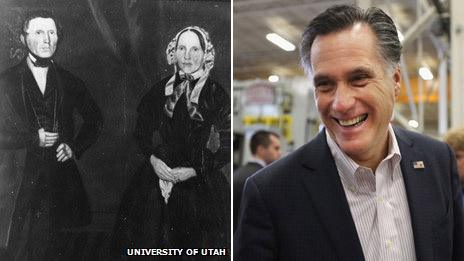 Miles and Elizabeth Romney (Special Collections Department, J Willard Marriott University Library, University of Utah) and Mitt Romney (Getty Images)