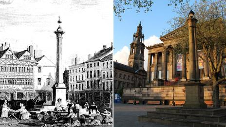 Preston market square as it was (photo: David Pickup) and as it is today