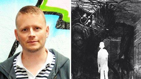 Patrick Ness (left - photo: Debbie Smyth), with an illustration from A Monster Calls