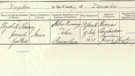 Joseph Romney, birth certificate. Lancashire Certificate Services
