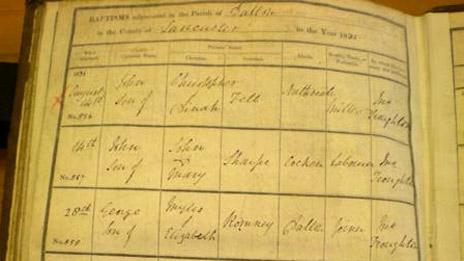 Record of birth of George Romney