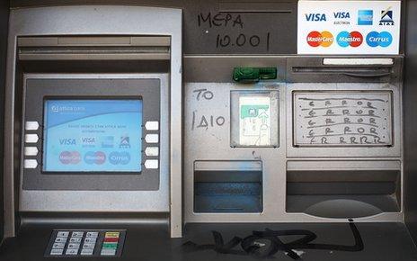 Vandalised Greek cash machine