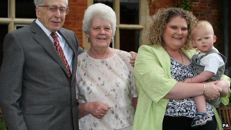 IVF pioneer Professor Robert Edwards, Lesley Brown, with her daughter Louise Brown the world's first IVF baby, with her son Cameron