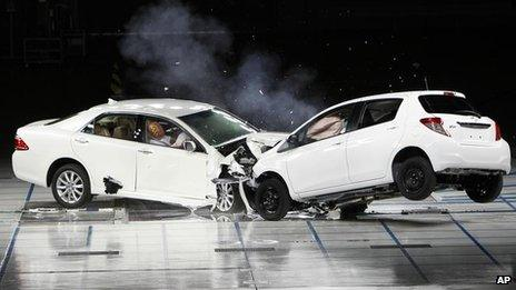 Toyota cars crash during a collision test