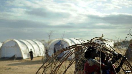 Archive shot of shelters at Dadaab camp in Kenya