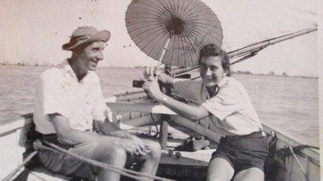 Joyce Griffiths on the River Rangoon with her friend a hydrographer