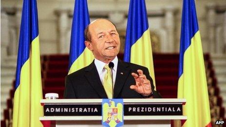 Romanian President Traian Basescu speaking on 3 July