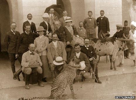 British colonials with pet cheetah