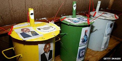 Voting drums in The Gambia