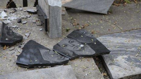 Desecrated gravestones in Tashkent