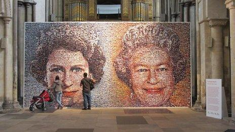 The mosaic on display in Rochester Cathedral