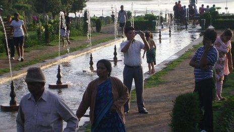Tourists at Nishat Bagh