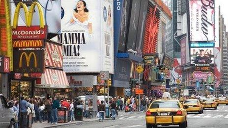 Billboard ads in Times Square in Manhattan, New York City