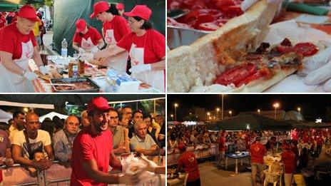 """Images from the """"festival of grandmother's sandwiches"""" in south Italy"""