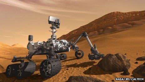Artist's impression of Curiosity on Mars