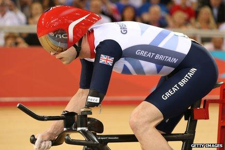 Ex-RAF serviceman Jon-Allan Butterworth competing at the velodrome