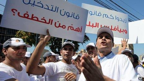 Restaurant owners and employees in Beirut hold a sit-in protest against a ban on smoking in closed public spaces in Lebanon (3 Sept 2012)