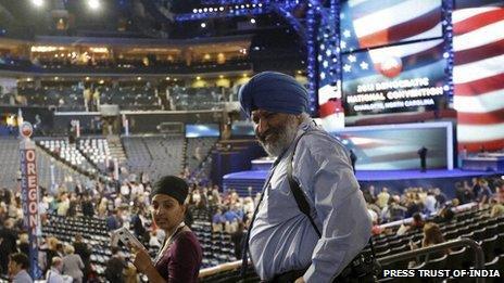 California delegates Harpreet Sandhu (r) and Kulbir Kaur Bainiwal (l) at the 2012 Democratic Convention in Charlotte NC