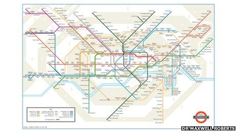 A revised tube map designed by Dr Maxwell Roberts
