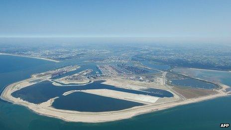Aerial view of the Maasvlakte 2 development at the Port of Rotterdam