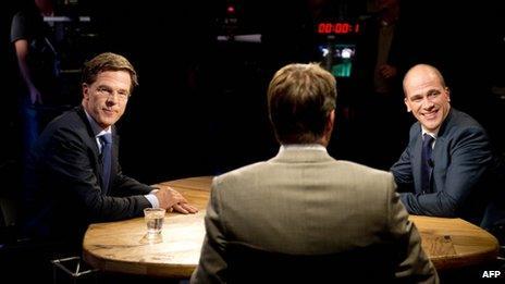 Political rivals Mark Rutte (left) and Diederik Samsom debate on TV, 10 September