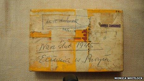 A box of photos stored away in Danuta's house.