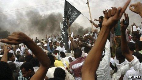 Sudanese demonstrators outside the US embassy in Khartoum September 14, 2012