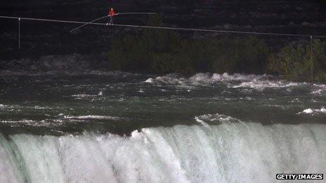 Nik Wallenda walks a tightrope over Niagara Falls, 2012