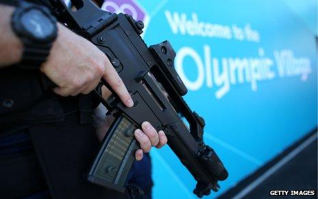 Armed police officer at the Olympic Village
