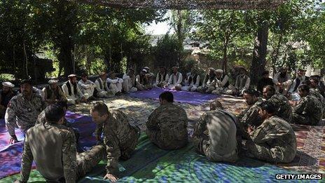 Us soldiers sit with Afghan elders - 201 Kunar