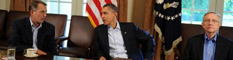 John Boehner, Barack Obama and Harry Reid