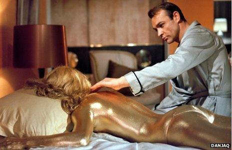 Shirley Eaton and Sean Connery in Goldfinger