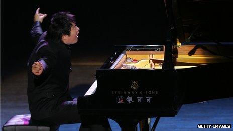 Chinese pianist Lang Lang at a New Year concert in China